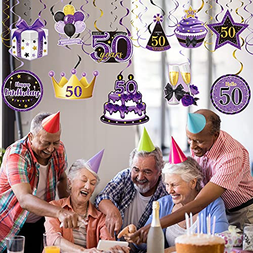 30 Pieces 50th Birthday Party Hanging Swirl Decorations,