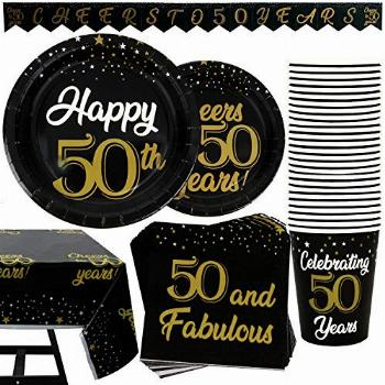 102 Piece 50th Birthday Party Supplies Set Including Plates,