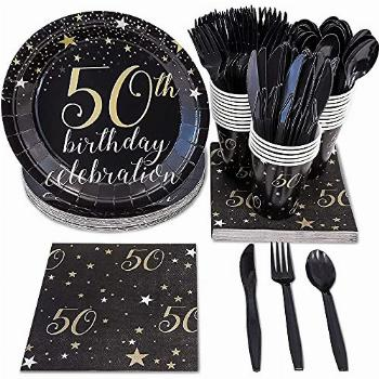144 Pieces 50th Birthday Party Bundle, Includes Plates,