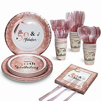 50 and Fabulous Party Plates Napkins Cups Sets with Plastic
