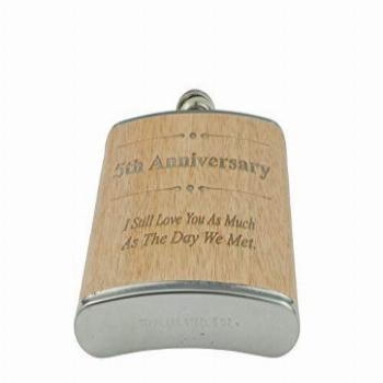 5th Anniversary Hip Flask 5 Year Anniversary Gift For Him