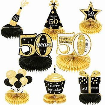 8 Pieces 50th Birthday Honeycomb Centerpieces 50th Party