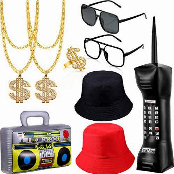 9 Pieces 80s/90s Hip Hop Costume Kit Mobile Phone Inflatable