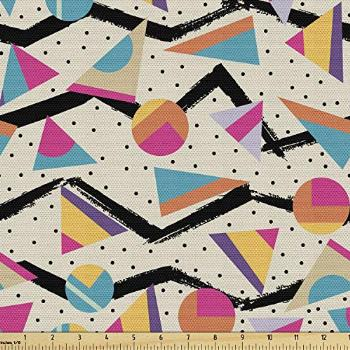 Ambesonne Vintage Fabric by The Yard, Vintage 80s Style