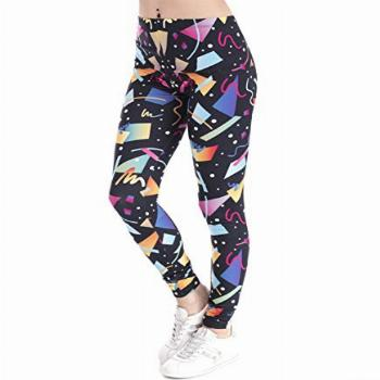 Black Leggings with Colorful 80s 90s Pattern Costume Print