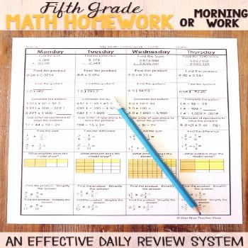 Fifth grade math homework or morning work that provides a daily review for 5th grade math standards