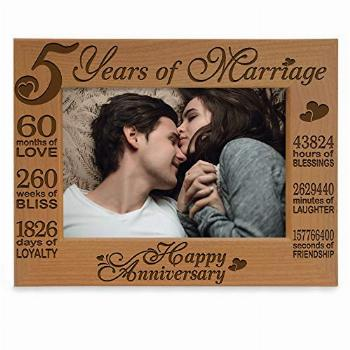 KATE POSH - 5 Years of Marriage Photo Frame - Happy 5th Wood