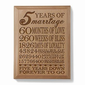 KATE POSH - 5th Anniversary Engraved Natural Wood Plaque,