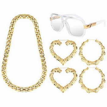 LOYALLOOK 80s/90s Women Hip Hop Costume Kit Gold Plated