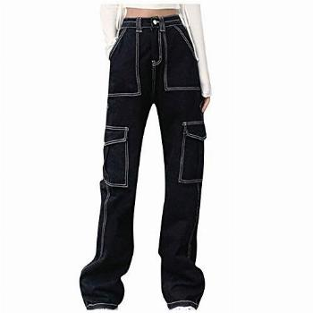 MASZONE Y2K Jeans for Women 90s Mid Waisted Wide Leg Pants