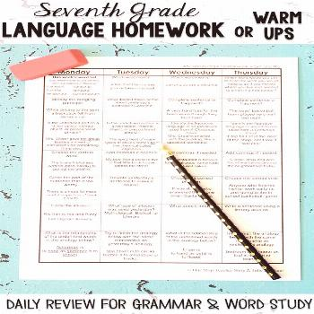 Seventh Grade Language homework or morning work that provides a daily review for 7th Grade grammar