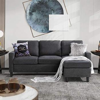 Walsunny Convertible Sectional Sofa for Small Space L-Shaped