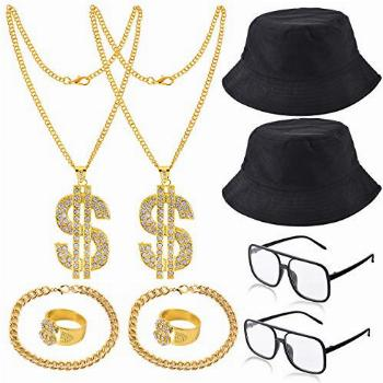 YAROMO 80s/ 90s Hip Hop Costume Kit with Dollar Sign (10