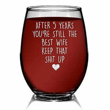 YouNique Designs 5 Years Anniversary Stemless Wine Glass for