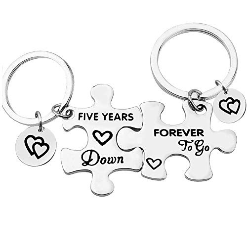 5 Years Anniversary Keychains Set Five Years Down Forever to