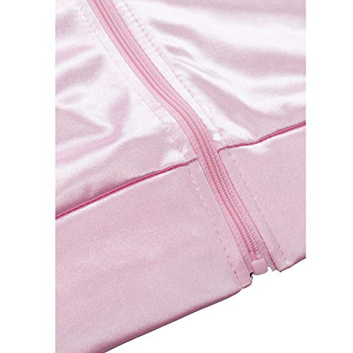 INTERMING Womens 1950s Pink Satin Jacket with Neck Scarfs